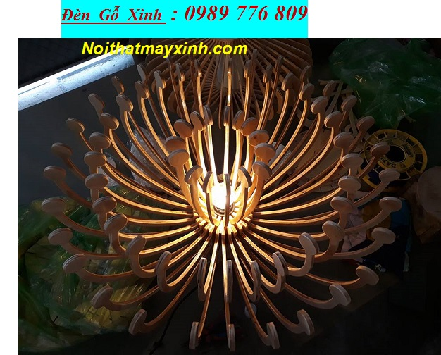 11 Đèn thả trần bằng gỗ, đèn gỗ Nhật giá rẻ