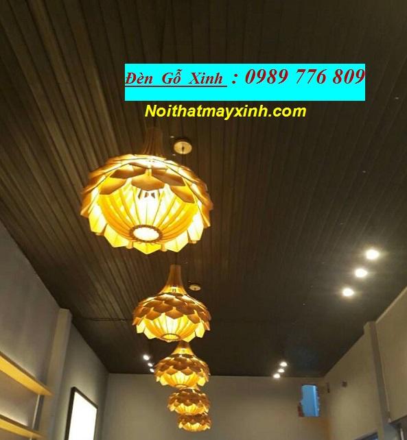 14 Đèn thả trần bằng gỗ, đèn gỗ Nhật giá rẻ