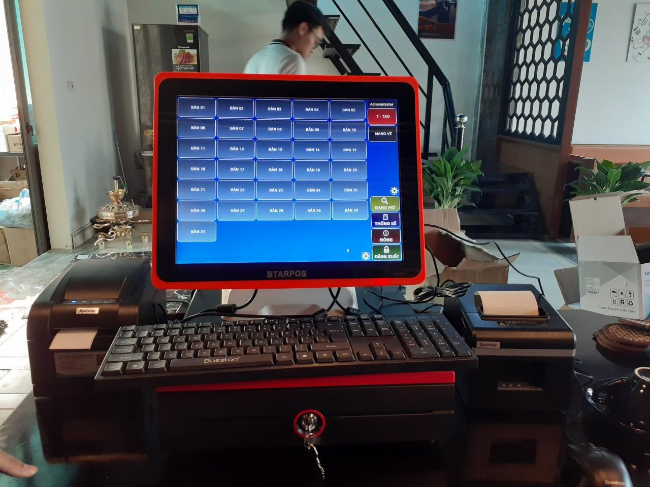 Trọn bộ thiết bị máy tính tiền quán cafe nguyên khối tại Ninh Bình