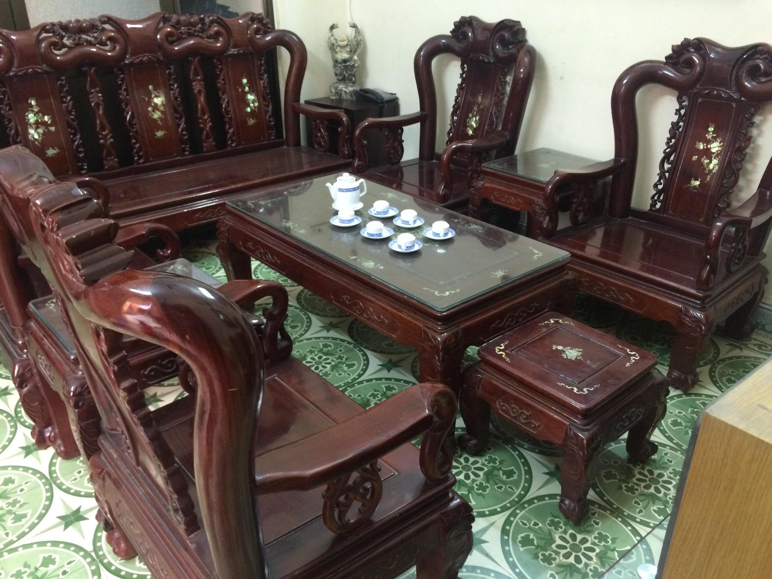 Thanh lý bộ bàn ghế gỗ hương Đồng Kị - đồ cũ hải phòng 0834.567.824