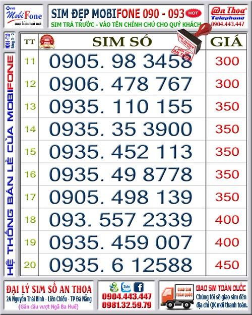 1 Sim mobi chọn lọc 0935, 0905, 0906 thág10 giá rẻ