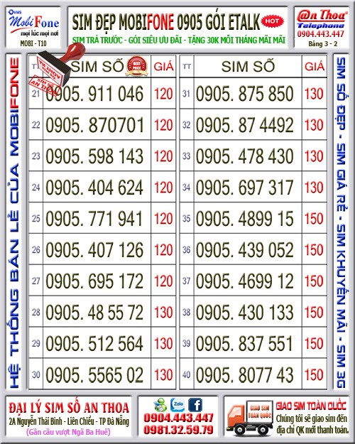 1 Sim đầu số 0905 tặng 30ngàn mãi mãi giá rẻ. Đăng ký gói T59 mỗi tháng