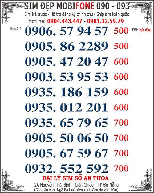 1 Simđẹp 30 sim Mobi mới 093, 090 năm mới giá chuẩn