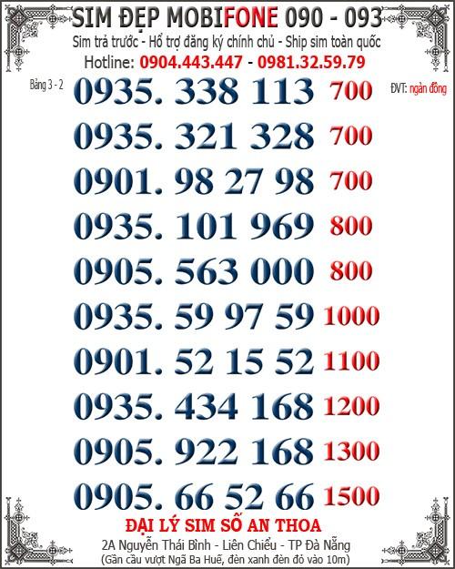 2 Simđẹp 30 sim Mobi mới 093, 090 năm mới giá chuẩn